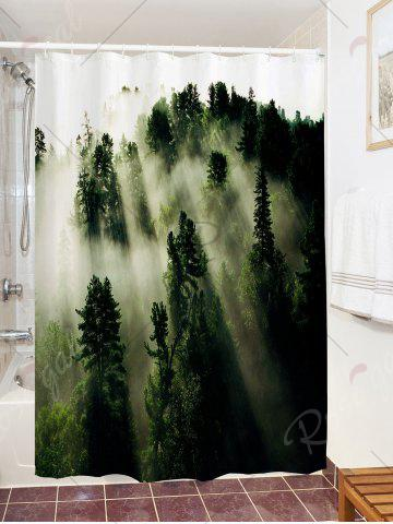 Chic Forest Trees Fog Print Fabric Waterproof Bathroom Shower Curtain - W71 INCH * L71 INCH GREEN Mobile