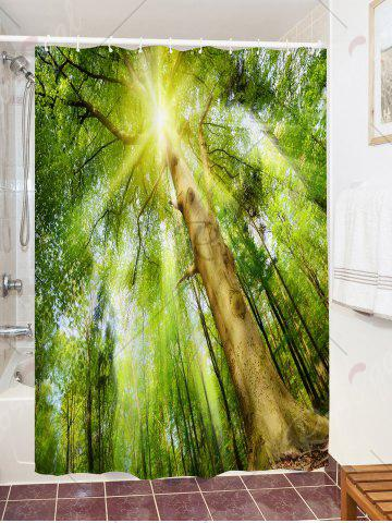Store Forest Sunlight Print Fabric Waterproof Bath Shower Curtain - W59 INCH * L71 INCH GREEN Mobile