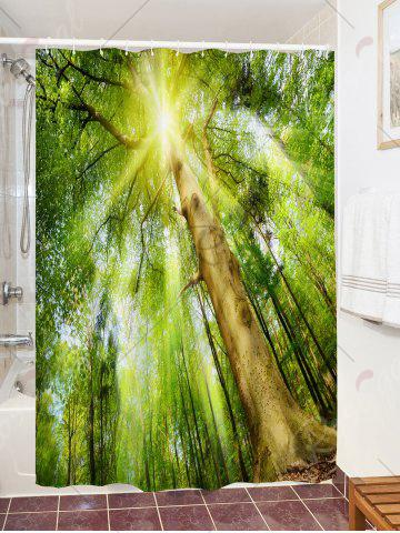 Sale Forest Sunlight Print Fabric Waterproof Bath Shower Curtain - W71 INCH * L71 INCH GREEN Mobile