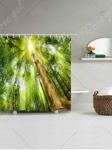 Sale Forest Sunlight Print Fabric Waterproof Bath Shower Curtain - W71 INCH * L79 INCH GREEN Mobile