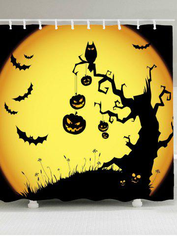 Discount Pumpkin Withered Tree Print Waterproof Halloween Shower Curtain - W59 INCH * L71 INCH YELLOW AND BLACK Mobile