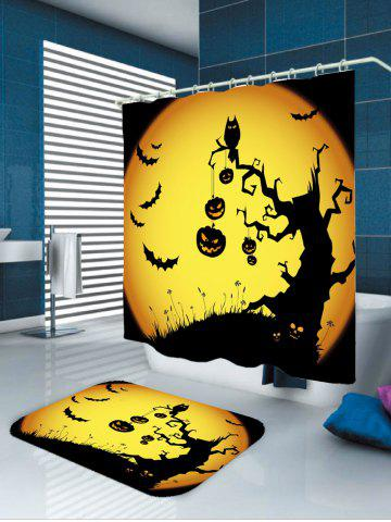 Fancy Pumpkin Withered Tree Print Waterproof Halloween Shower Curtain - W65 INCH * L71 INCH YELLOW AND BLACK Mobile