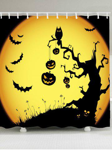 Fancy Pumpkin Withered Tree Print Waterproof Halloween Shower Curtain - W71 INCH * L71 INCH YELLOW AND BLACK Mobile
