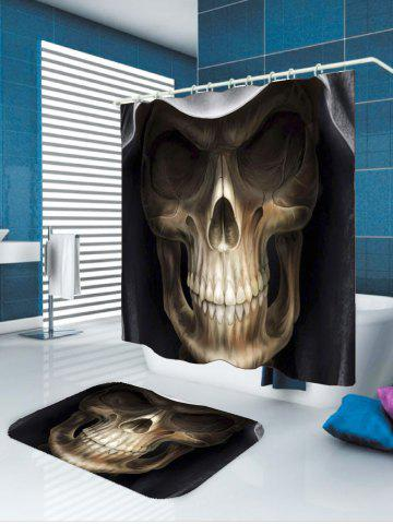 Latest Waterproof Halloween 3D Terrible Skull Printed Shower Curtain - W59 INCH * L71 INCH BLACK AND BROWN Mobile