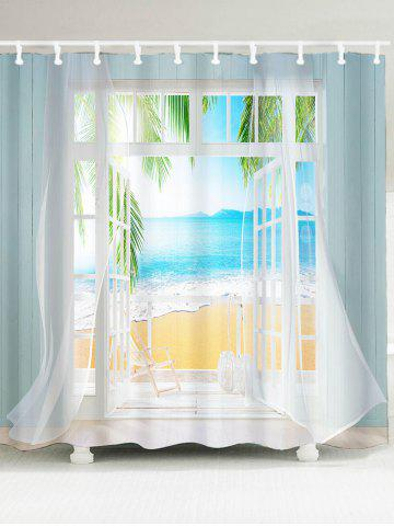 Latest Waterproof 3D False Window Seawater Printed Shower Curtain - W59 INCH * L71 INCH COLORMIX Mobile
