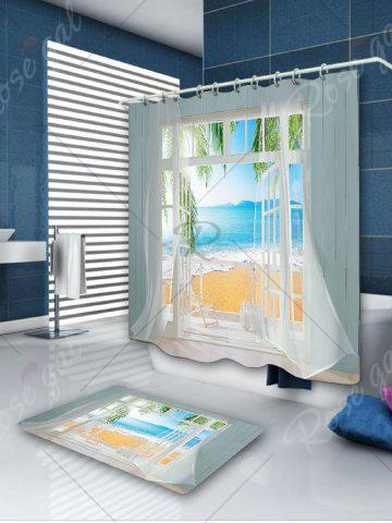 Affordable Waterproof 3D False Window Seawater Printed Shower Curtain - W59 INCH * L71 INCH COLORMIX Mobile