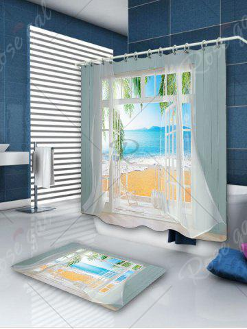 Fashion Waterproof 3D False Window Seawater Printed Shower Curtain - W71 INCH * L71 INCH COLORMIX Mobile