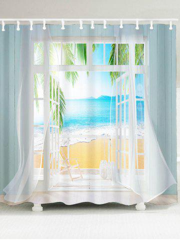 Cheap Waterproof 3D False Window Seawater Printed Shower Curtain - W79 INCH * L71 INCH COLORMIX Mobile