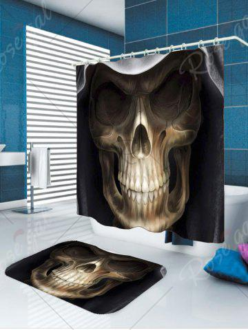 Online Waterproof Halloween 3D Terrible Skull Printed Shower Curtain - W79 INCH * L71 INCH BLACK AND BROWN Mobile