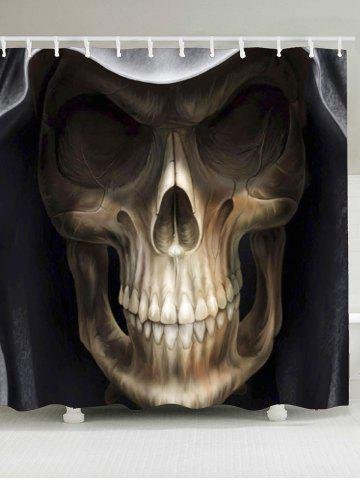 Sale Waterproof Halloween 3D Terrible Skull Printed Shower Curtain - W79 INCH * L71 INCH BLACK AND BROWN Mobile