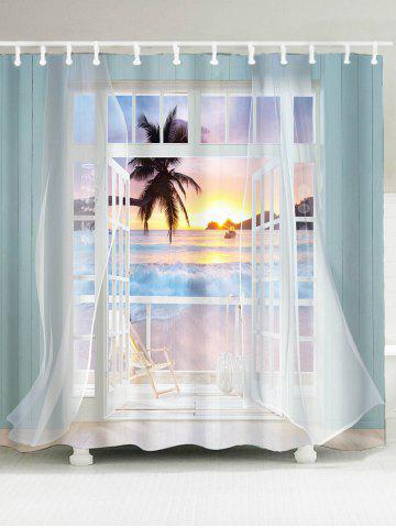 3D False Window Sunset Printed Shower Curtain - Colorful - W79 Inch * L71 Inch