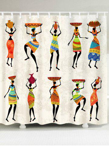 African Tribal Style Lady Pattern Shower Curtain - Colorful - W79 Inch * L71 Inch