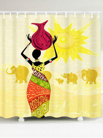 African Woman Elephant Pattern Shower Curtain - Colorful - W79 Inch * L71 Inch