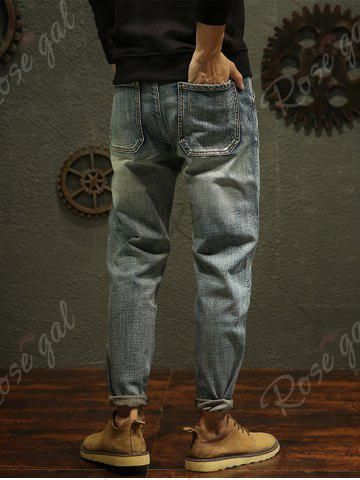 Trendy Regular Fit Fade Tapered Jeans - 32 BLUE Mobile