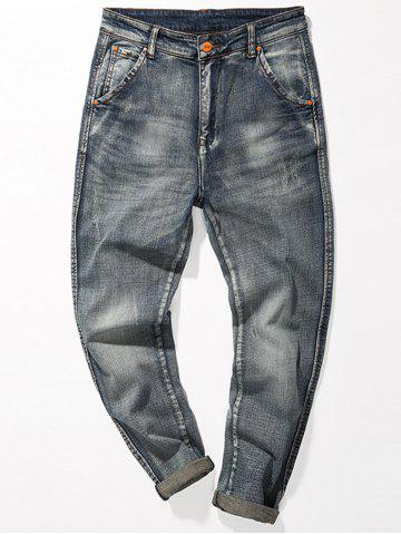 Fashion Regular Fit Fade Tapered Jeans - 32 BLUE Mobile