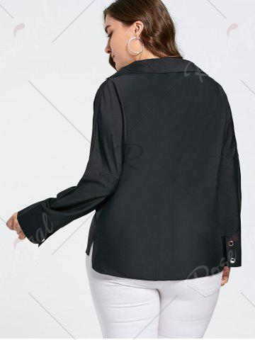 Fancy Plus Size Eyelet Long Sleeve Shirt with Sheer Voile - 2XL BLACK Mobile