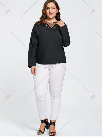 Store Plus Size Eyelet Long Sleeve Shirt with Sheer Voile - 2XL BLACK Mobile