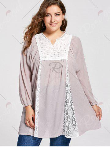 Chic Notched Lace Panel Pleated Plus Size Peasant Top - 2XL PALE PINKISH GREY Mobile