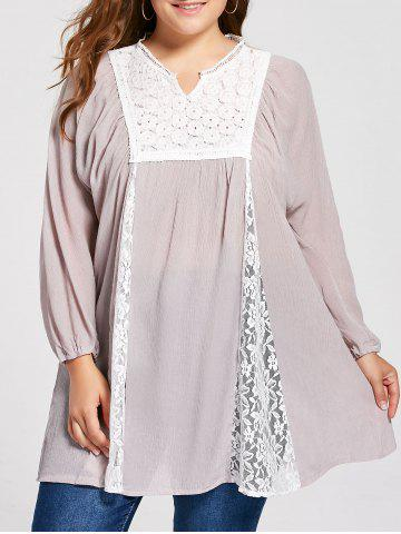 Outfit Notched Lace Panel Pleated Plus Size Peasant Top - 2XL PALE PINKISH GREY Mobile