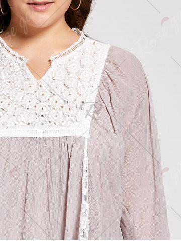 Cheap Notched Lace Panel Pleated Plus Size Peasant Top - 3XL PALE PINKISH GREY Mobile