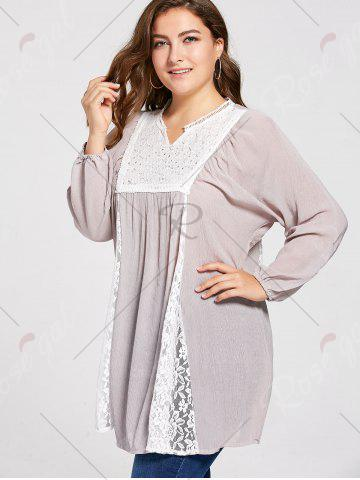 Hot Notched Lace Panel Pleated Plus Size Peasant Top - 3XL PALE PINKISH GREY Mobile