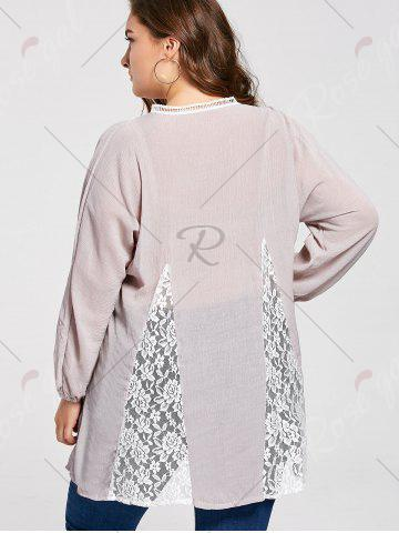 Fashion Notched Lace Panel Pleated Plus Size Peasant Top - 3XL PALE PINKISH GREY Mobile