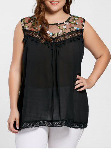 Cheap Floral Embroidered Mesh Plus Size Top - 2XL BLACK Mobile