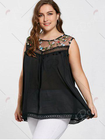 Online Floral Embroidered Mesh Plus Size Top - 2XL BLACK Mobile