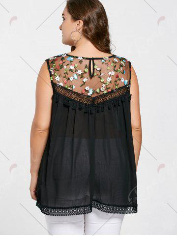 Buy Floral Embroidered Mesh Plus Size Top - 2XL BLACK Mobile
