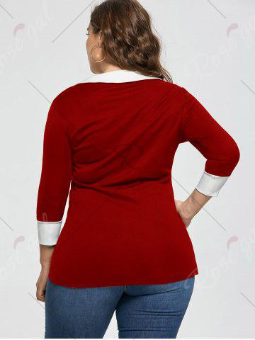 Chic Plus Size Bow Tie Two Tone Longline Blouse - 5XL RED Mobile