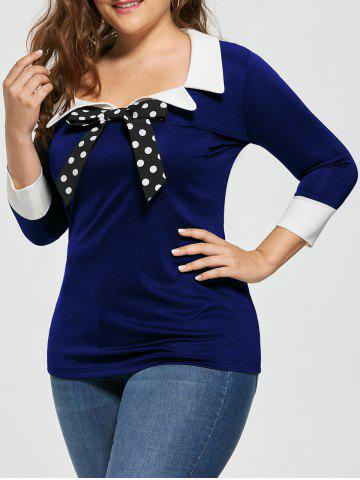 Discount Plus Size Bow Tie Two Tone Longline Blouse - 4XL BLUE Mobile