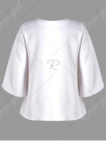 Sale Plus Size Lace Up Openwork Blouse - XL WHITE Mobile