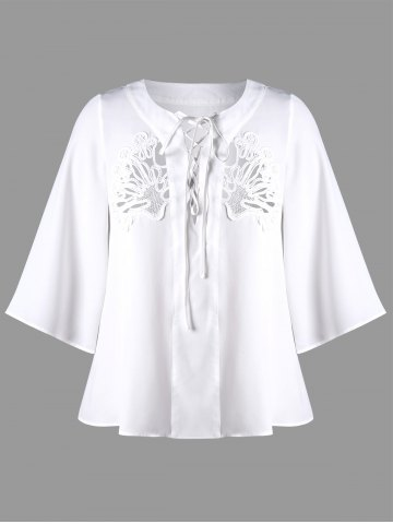 Plus Size Lace Up Openwork Blouse - White - 3xl