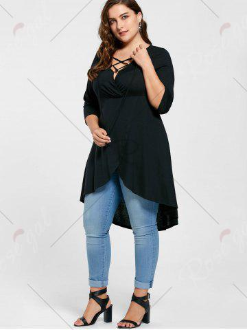 Outfits Plus Size Overlap Lace Up Top - 5XL BLACK Mobile