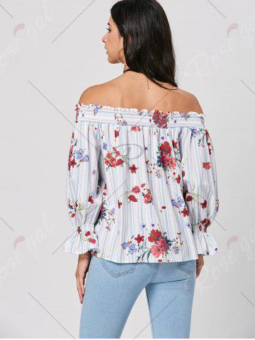 Outfits Off The Shoulder Striped Floral Print Blouse - S COLORMIX Mobile