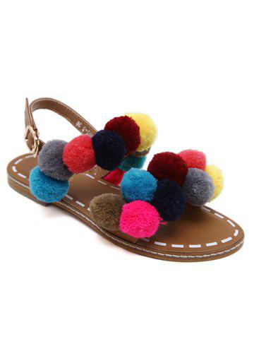 Shops Bohemian Colorful Pom Pom Sandals - 37 BROWN Mobile