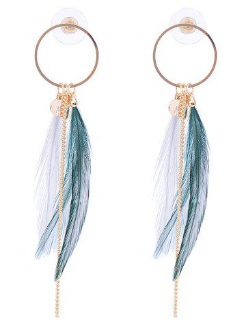 Natural Feather Link Chain Circle Drop Earrings - White And Green