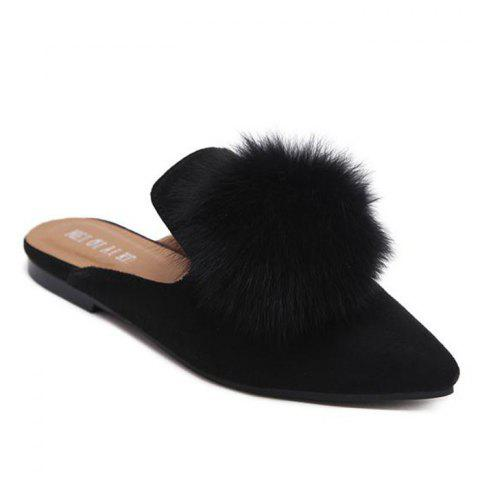 Discount Pointed Toe Pompon Slippers BLACK 38