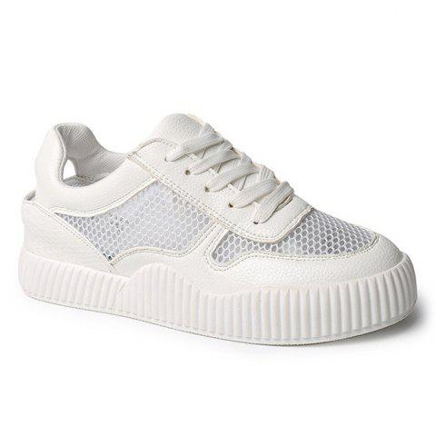 Trendy Round Toe Breathable Hollow Out Sneakers WHITE 39