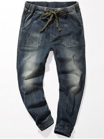 Drawstring Denim Jogger Jeans - Blue - 40