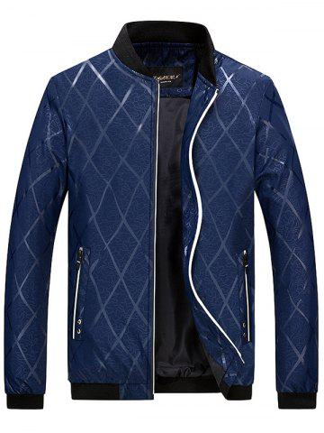 Zip Pocket Diamond Bomber Jacket - Deep Blue - 4xl