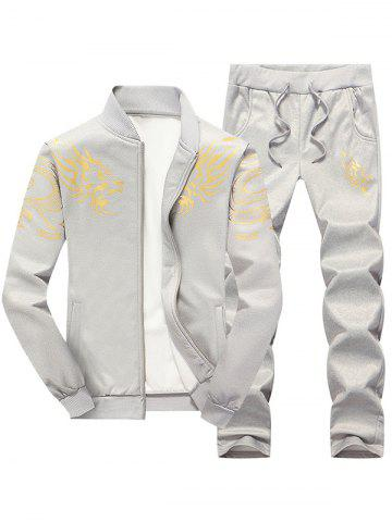 Dragon Totem Print Jacket and Sweatpants Suit - Light Gray - Xl