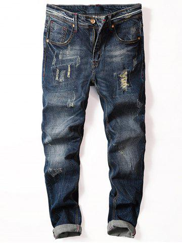 Straight Leg Ripped Jeans - Blue - 40