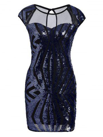Fashion Mesh Panel Sequin Bodycon Club Dress - L BLUE Mobile