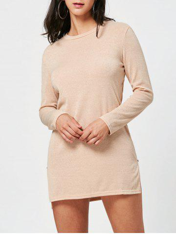 Long Sleeve Sweater Shift Dress with Zipper - Apricot - S