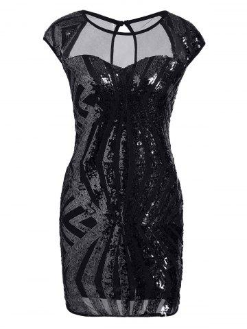 Discount Mesh Panel Sequin Bodycon Club Dress - XL BLACK Mobile