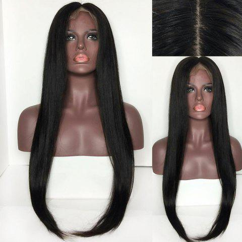 Online Center Parting Long Straight Lace Front Synthetic Wig - BLACK  Mobile