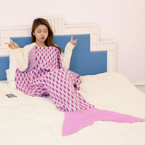 Knitted Peacock Pattern Mermaid Tail Blanket Throw - Pink - 180*90cm