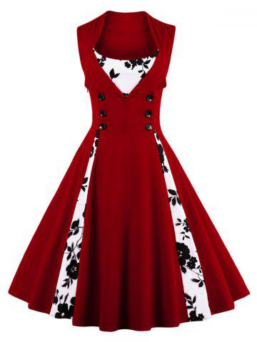 Vintage Floral Prom Swing Dress - Wine Red - S