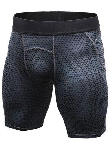 Cheap 3D Geometric Print Quick Dry Fitted Gym Shorts - L BLACK Mobile
